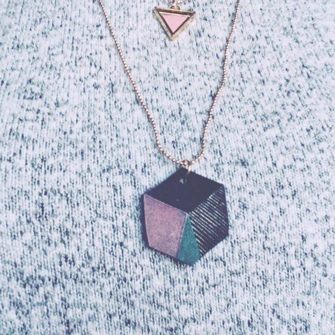 Juweel hanger octagon shrinkle folie shrinkles papier gemakkelijk zelf maken pastel zwart geometrisch